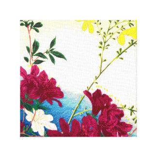 Canvas art Pink yellow white blue spring flower