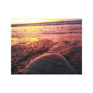 Canvas beach sunrise with shell/ breathe Maine .