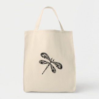 Canvas grocery tote with dragonfly design