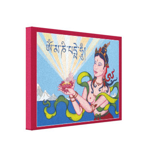 CANVAS - Offering Goddess with Tibetan Mantra Stretched Canvas Prints