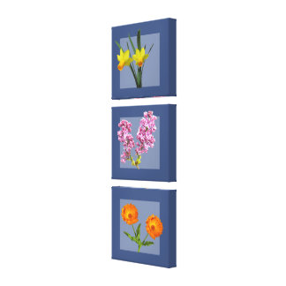 Canvas Print - Botanical Triptych on Blue