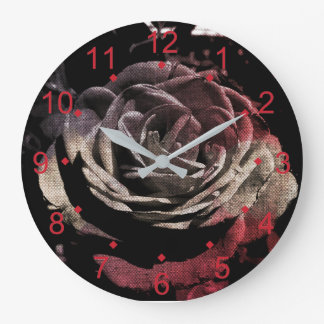 Canvas Rose Large Clock