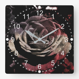 Canvas Rose Square Wall Clock