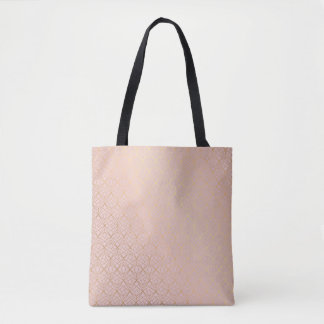 Canvas Shopper Bag Rose Gold Geometric