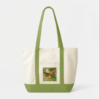 Canvas tote bag, large orange papillon butterfly