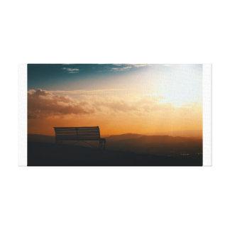 Canvas Winter sunset Hilltop Bench