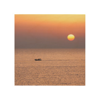Canvas with sunset in the southern italian sea. wood wall decor