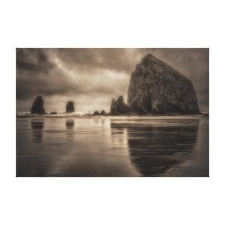 Canvas Wrap: Haystack Rock And Needles Toned
