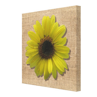 Canvas - Wrapped - Burlap & RainDrenched Sunflower
