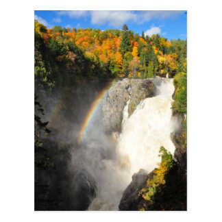 Canyon Sainte-Anne Waterfall Rainbow Postcard