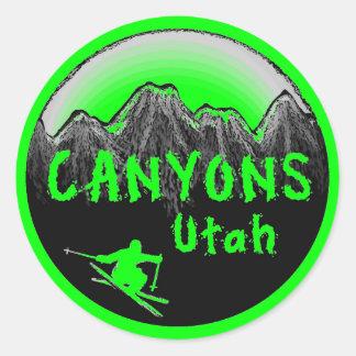 Canyons Utah skier Round Sticker