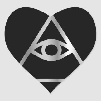 Cao dai Eye of Providence- Religious icon Heart Sticker