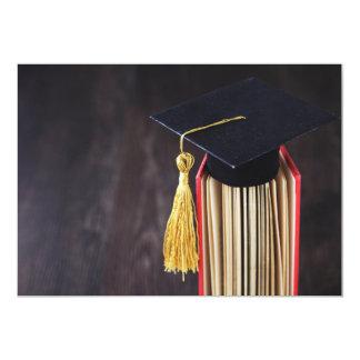 Cap and tassel on graduation invitation