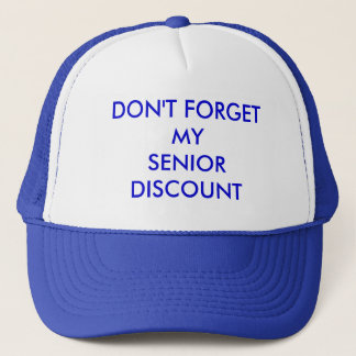 CAP, BLUE, DON'T FORGETMYSENIORDISCOUNT TRUCKER HAT