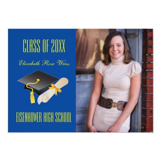 Cap & Diploma Blue - Graduation Announcement