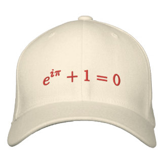 Cap: Euler's identity embroidered, large, red Embroidered Baseball Cap