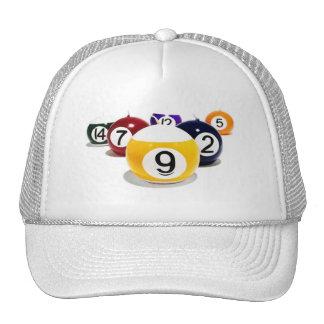 Cap pool ball trucker hat