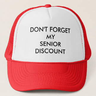 CAP, RED, SENIOR DISCOUNT TRUCKER HAT