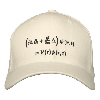 Cap, Schrodinger wave equation, black thread Embroidered Hat