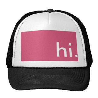 Cap that says hi trucker hat