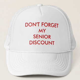 CAP, WHITE, SENIOR DISCOUNT TRUCKER HAT