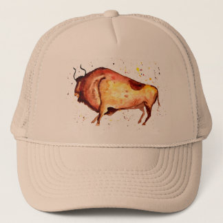 Cap with handpainted bull