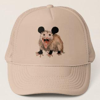 Cap with handpainted opossum