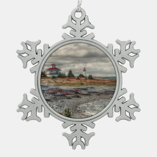 Cape Breton Lighthouse Nova Scotia Canada Pewter Snowflake Ornament
