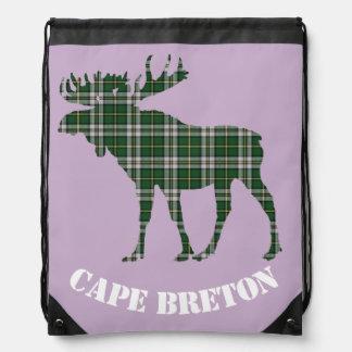 Cape Breton moose Tartan Travel drawstring Bag