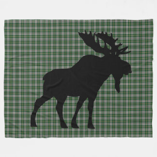 Cape Breton Tartan Custom Moose green Plaid Fleece Blanket