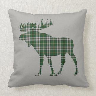 Cape Breton Tartan Custom Moose green Plaid Throw Pillow