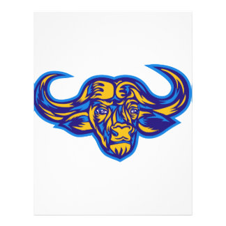 Cape Buffalo Head Retro Letterhead