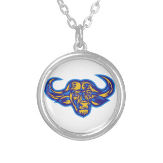 Cape Buffalo Head Retro Silver Plated Necklace