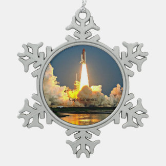 Cape Canaveral Florida Launch Pad Snowflake Pewter Christmas Ornament