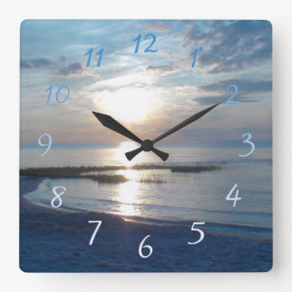 Cape Cod Beach Sunset Square Wall Clock