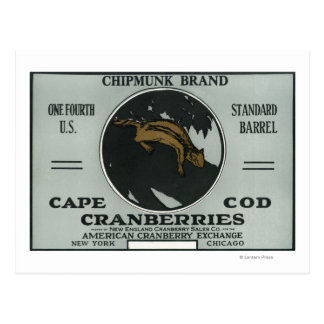 Cape Cod Chipmunk Brand Cranberry Label Postcard