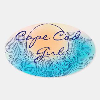 Cape Cod Girl Oval Stickers (4 per sheet)