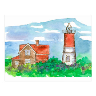 Cape Cod Lighthouse Sketch Postcard