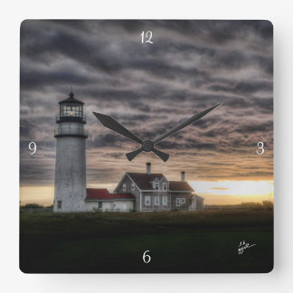 Cape Cod Lighthouse Square Wall Clock