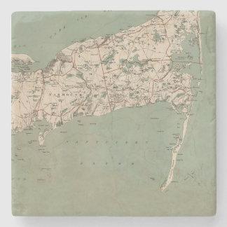 Cape Cod Map 3 Stone Coaster
