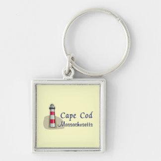 Cape Cod Massachusetts Silver-Colored Square Keychain