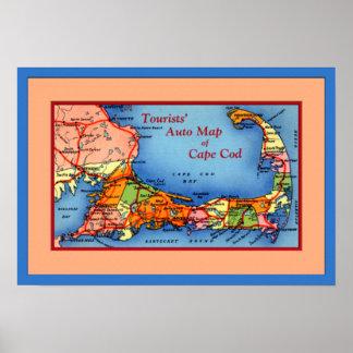 Cape Cod Massachusetts Tourists Auto Map Poster