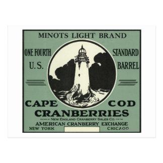 Cape Cod Minots Light Brand Cranberry Label Postcard