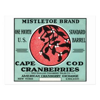 Cape Cod Mistletoe Brand Cranberry Label Postcard