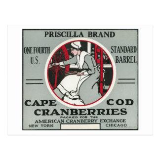 Cape Cod Priscilla Brand Cranberry Label Postcard