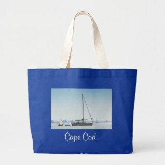 Cape Cod Sailboat Jumbo Canvas Tote Bag