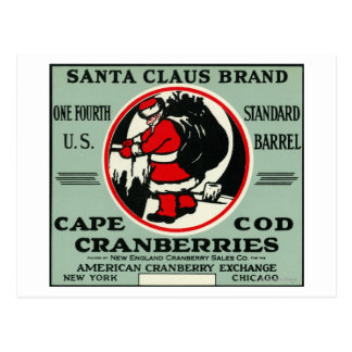Cape Cod Santa Claus Brand Cranberry Label Postcard