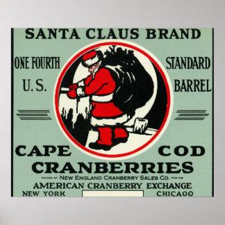 Cape Cod Santa Claus Brand Cranberry Label Poster