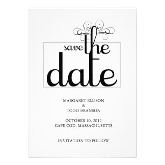 Cape Cod Save the Date Card:  Bride & Groom Invites