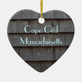 Cape Cod Shingles Reversible Customized Ceramic Heart Ornament
